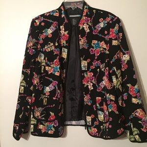 Quilted print zipper front jacket.